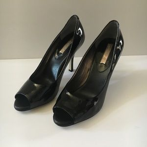 Banana Republic Black Patent Peep Toe Pumps